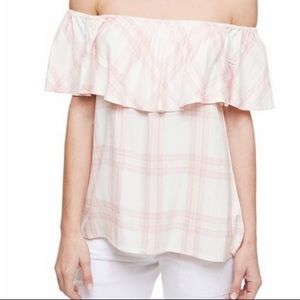 Sanctuary Plaid Off the Shoulder Top